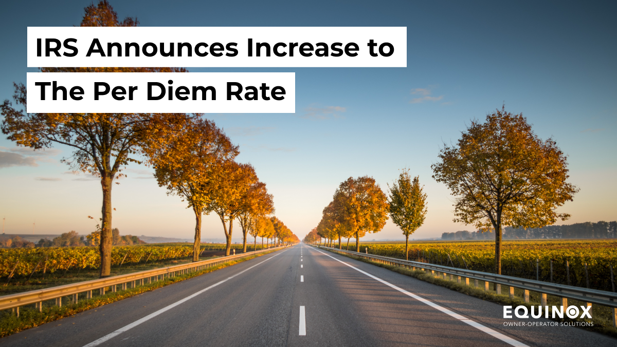 IRS Announces Increase to the Per Diem Rate